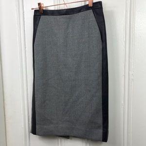 J.Crew Collection gray pencil skirt navy trim wool